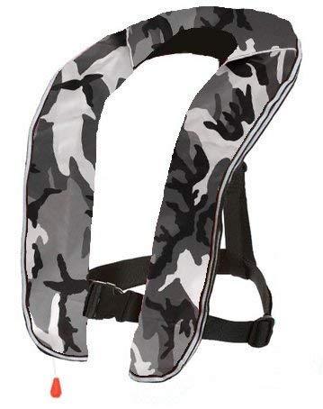 EYSON ライフジャケット インフレータブルベストタイプ 自動/手動膨張式 救命胴衣9色から選択可 釣り用 CE認定済 (グレー迷彩, 自動式)