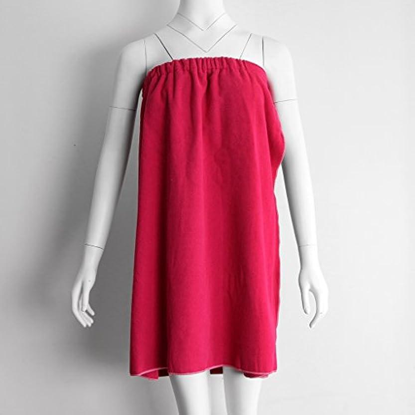 取り付け論理的同僚タオルラップ バスタオル バススカート レディース シャワーラップ 約68×54cm 4色選べる - 赤