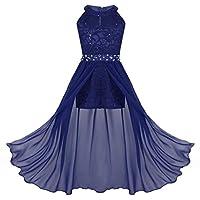 TiaoBug Girls Formal Floral Lace Rhinestone Maxi Romper Dress Bridesmaid Wedding Party Dance Wear Ball Gown