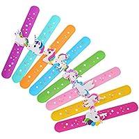 TOYANDONA 12pcs Random Unicorn Slap Bracelets Silicone Snap On Novelty Bracelets Wristbands Toy for Kids Children