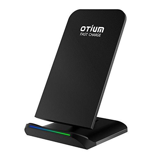 ワイヤレス充電器 Qi Otium 急速充電 置くだけ充電 2コイル 充電スタンド ワイヤレスチャージャー iPhone 8 / iPhone 8 Plus/iPhone X, Galaxy Note 8 /S8/S8 Plus/S7/S7 Edge/Note 5/S6 Edge Plus/Xperia ブラック