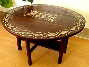 アジアン家具 バリ家具 ロンボクロータスちゃぶ台 ダイニング 丸テーブル 折りたたみ ちゃぶ台 丸 木製