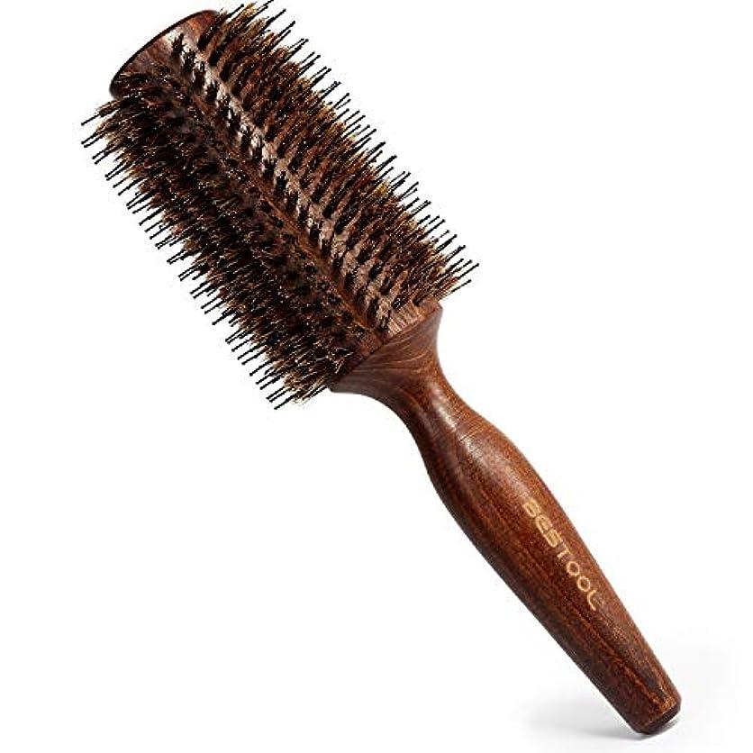 耳取り除くシールド豚毛ヘアブラシ ロールブラシ Bestool ケヤキ製 髪をつやつやする ファッションヘアブラシ 新型タイプ 高級美容ヘアブラシ (L, ケヤキ)