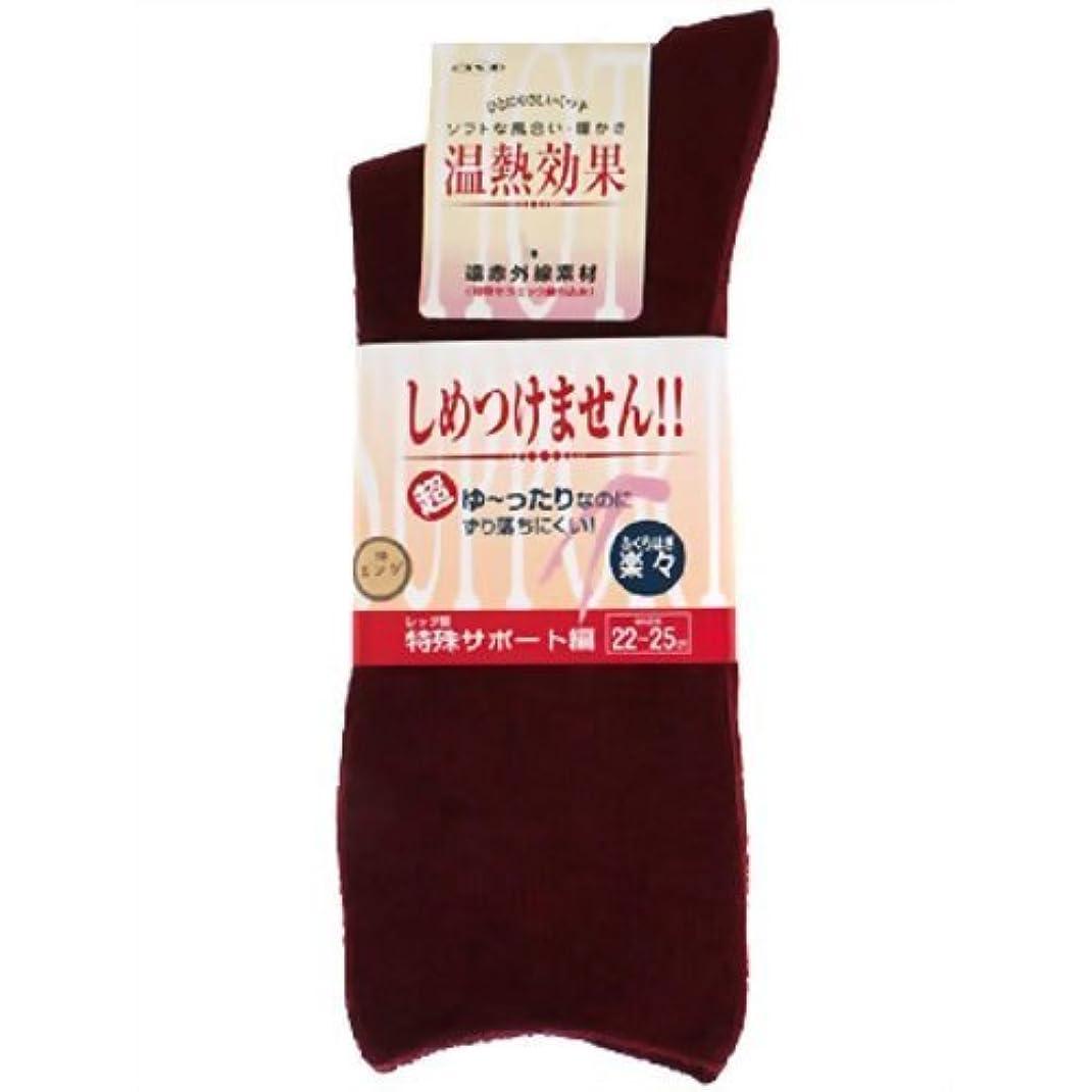 花瓶スクラップブック郵便楽らくソックス婦人用秋冬用 22~25cm エンジ