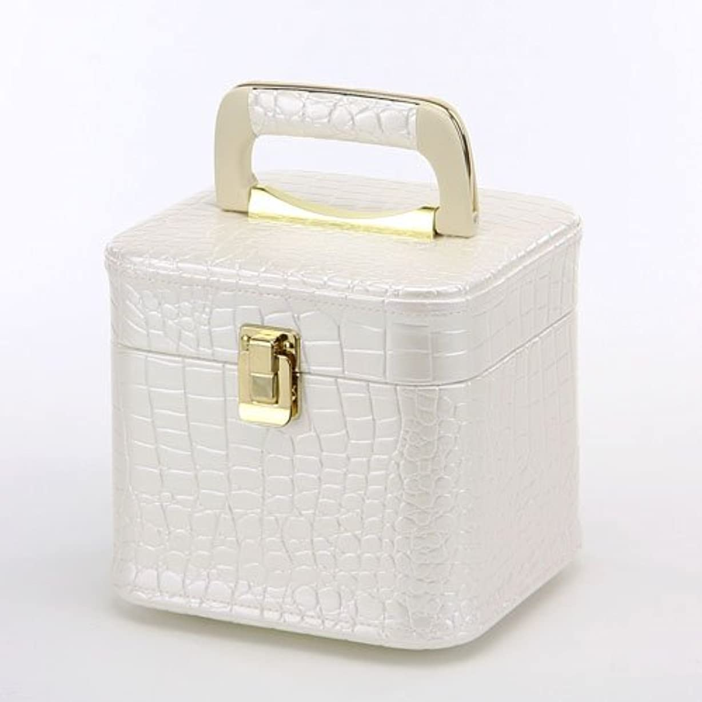 品揃え促す差日本製 メイクボックス パールホワイト クロコ ミニ (トレンケース クロコダイル風) (コスメボックス)