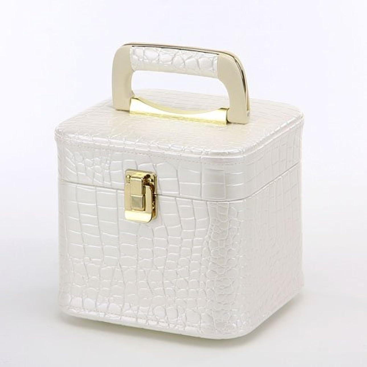 しっかりクレジット擬人化日本製 メイクボックス パールホワイト クロコ ミニ (トレンケース クロコダイル風) (コスメボックス)