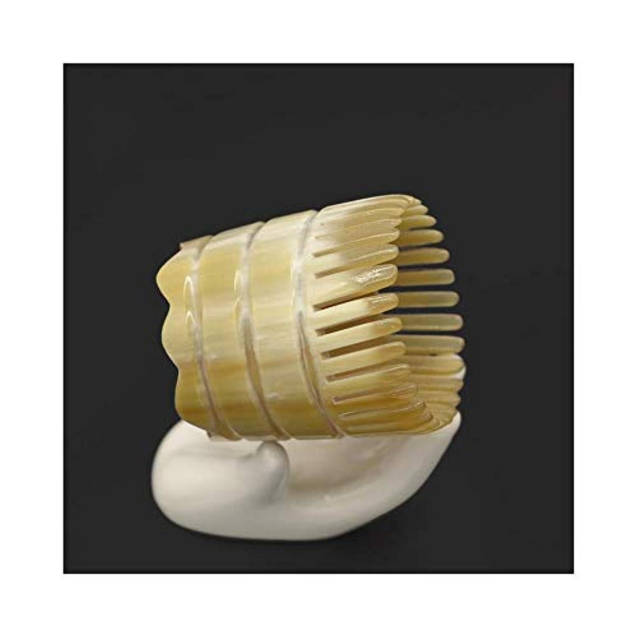 ハブブ思い出すインストラクターWASAIO 頭皮マッサージはありません静的手作りのための自然木製ヤクホーンくしDetangleコームズメンズ?レディース?ヘアーブラシセットパドル (色 : B)