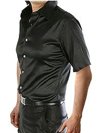 maweisong メンズショートスリーブシャイニーサテンのドレスシャツのダンスパーティーfahsionボタンダウンシャツ