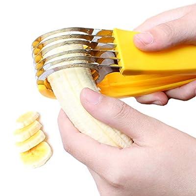 Cangad バナナスライサー レモンカッター フルーツスプーン 野菜 握り易く 握り易く 果物を食べやすい家族のキッチンガジェット 黄色 PP +ステンレス