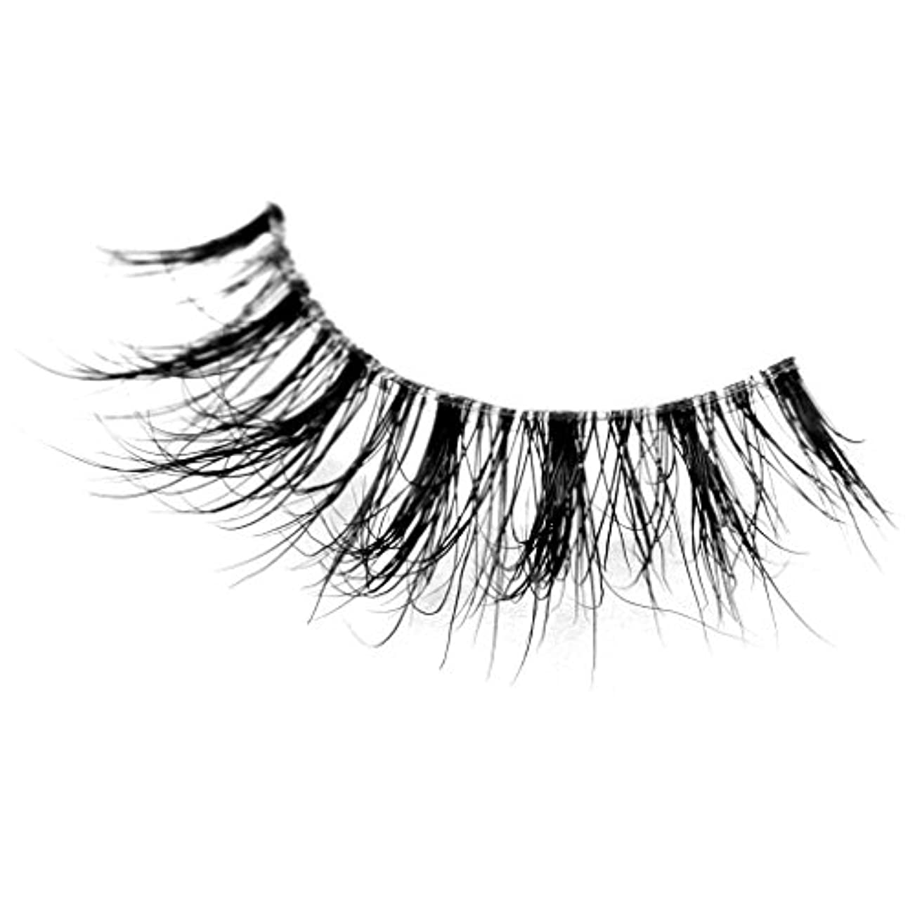 復活含める使用法Musegetes Handmade 3D Mink False Eyelashes Natural for Makeup, Reusable with Clear Invisible Flexible Band 1 Pair...
