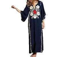 MeiLing Bestyyou Women's Print Kaftan Nightgown Long Caftans Beach Maxi Dress Bikini Swimsuit Bathing Suit Cover Up Swimwear