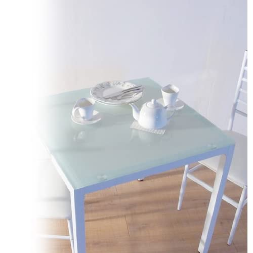 10mm厚 強化ガラスダイニングテーブル 75X75cm ホワイト(白) 2人用