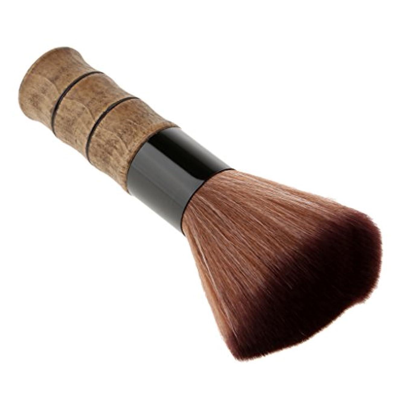 Blesiya シェービングブラシ 洗顔 化粧ブラシ メイクブラシ ソフトファイバー ブラシ スキンケア メイクアップ 高品質 2色選べる - 褐色