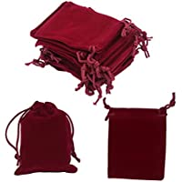 HRX Package Mini Velvet Gift Bag with Drawstring,20PCS Burgundy Red Velvet Cloth Jewelry Pouches (2.8 X 3.6 inches)