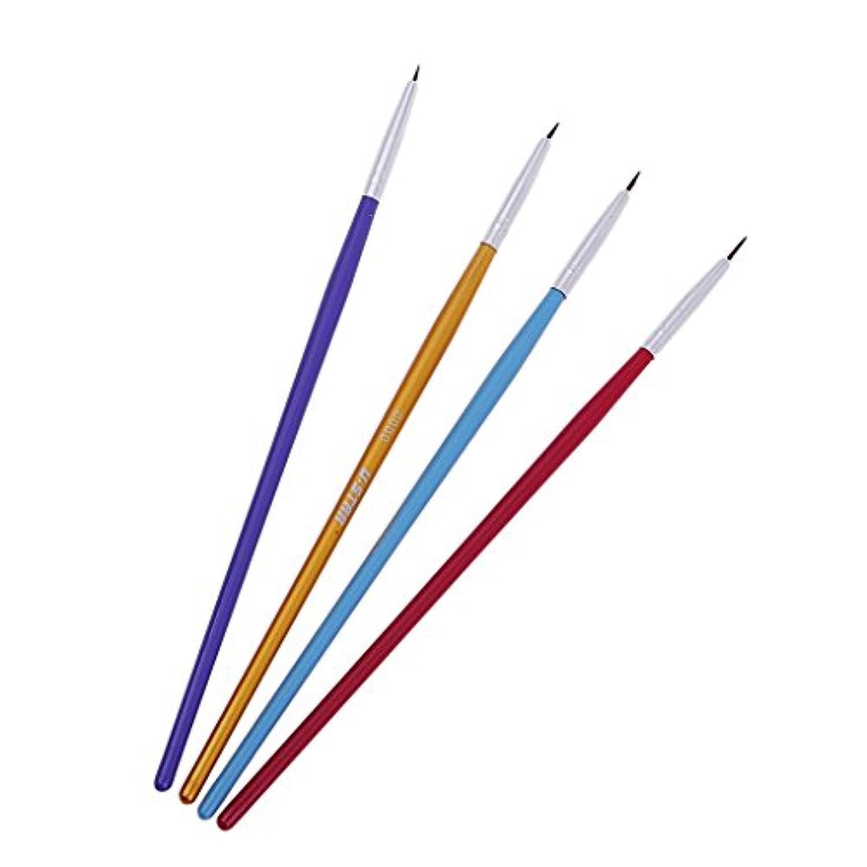 B Baosity 高品質 ディテール&アートペイントアクリル水彩用 4本 小型ペイントブラシ