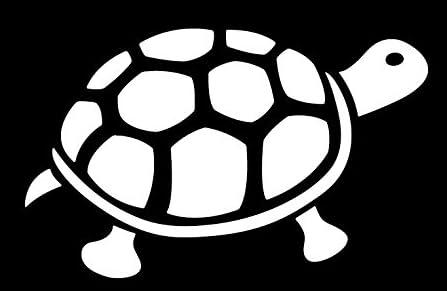 亀 カメ 陸ガメ リクガメ tortoise 動物 アニマル  シルエット ステッカー シール デカール (15cm×9.5cm, ホワイト)