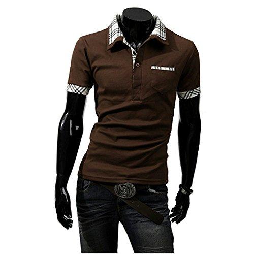 (カメロパルダリス) Camelopardalis メンズ スタイリッシュ シンプル ポロシャツ 夏用 カジュアル 半袖 大きいサイズ (018 ブラウン XL)