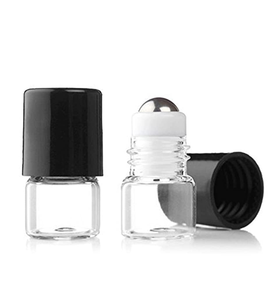 仕出します蒸もろいGrand Parfums Empty 1ml Micro Mini Rollon Dram Glass Bottles with Metal Roller Balls - Refillable Aromatherapy...