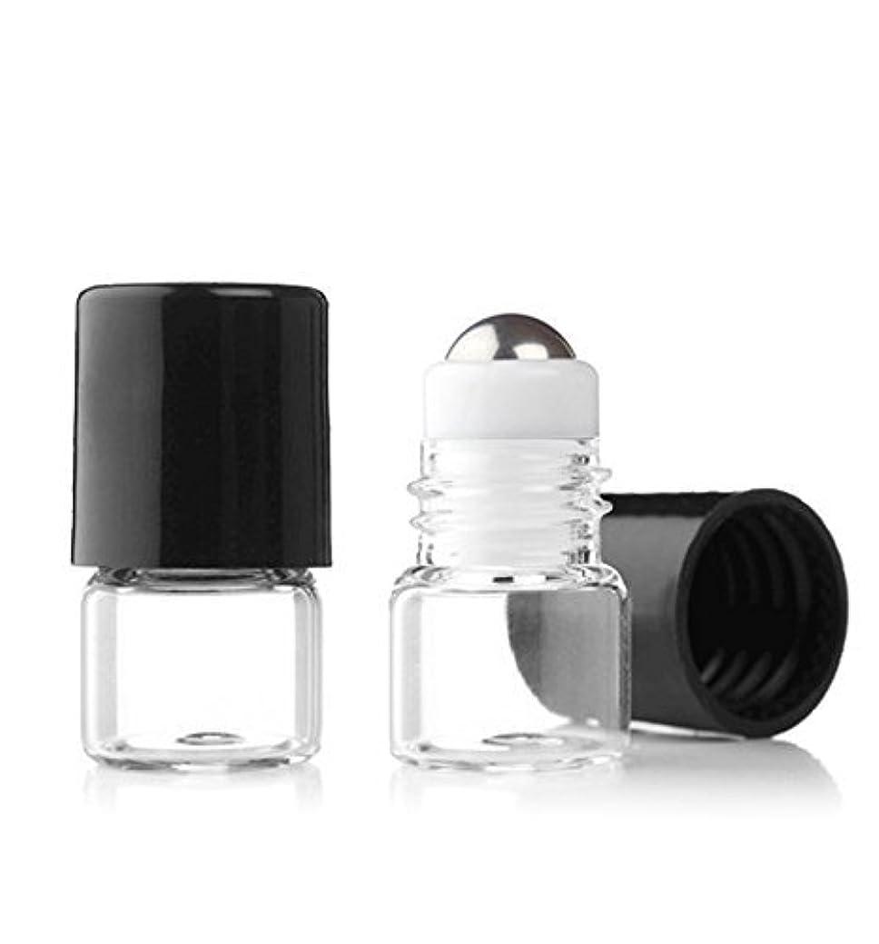 方向パリティ繰り返しGrand Parfums Empty 1ml Micro Mini Rollon Dram Glass Bottles with Metal Roller Balls - Refillable Aromatherapy...