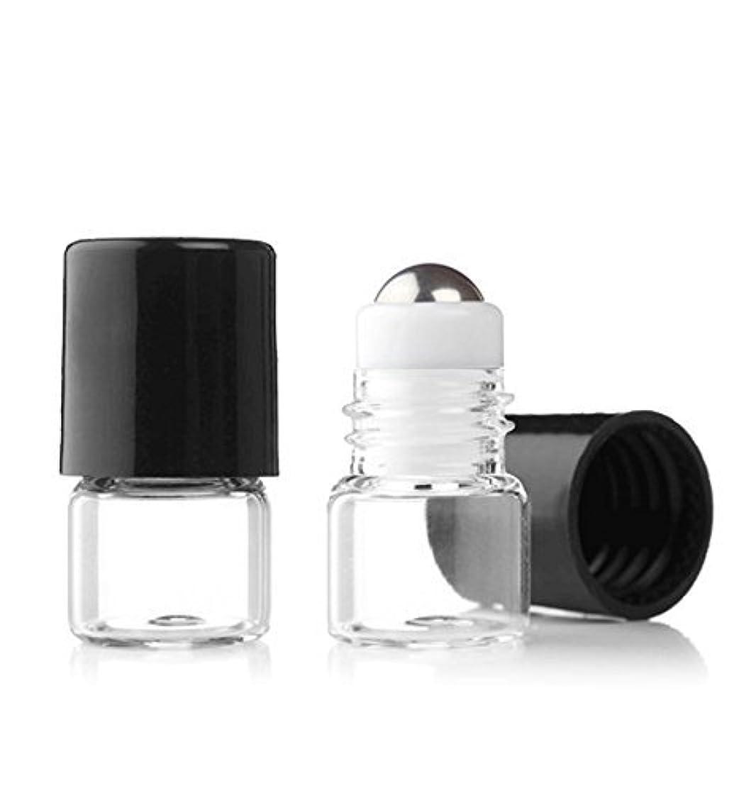時間厳守ジャンプする閉塞Grand Parfums Empty 1ml Micro Mini Rollon Dram Glass Bottles with Metal Roller Balls - Refillable Aromatherapy...