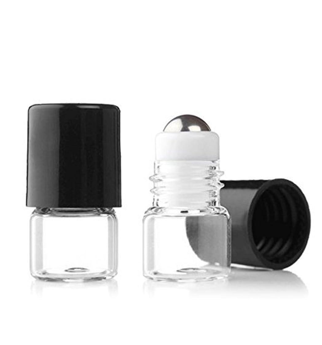 減衰鉄道唇Grand Parfums Empty 1ml Micro Mini Rollon Dram Glass Bottles with Metal Roller Balls - Refillable Aromatherapy...