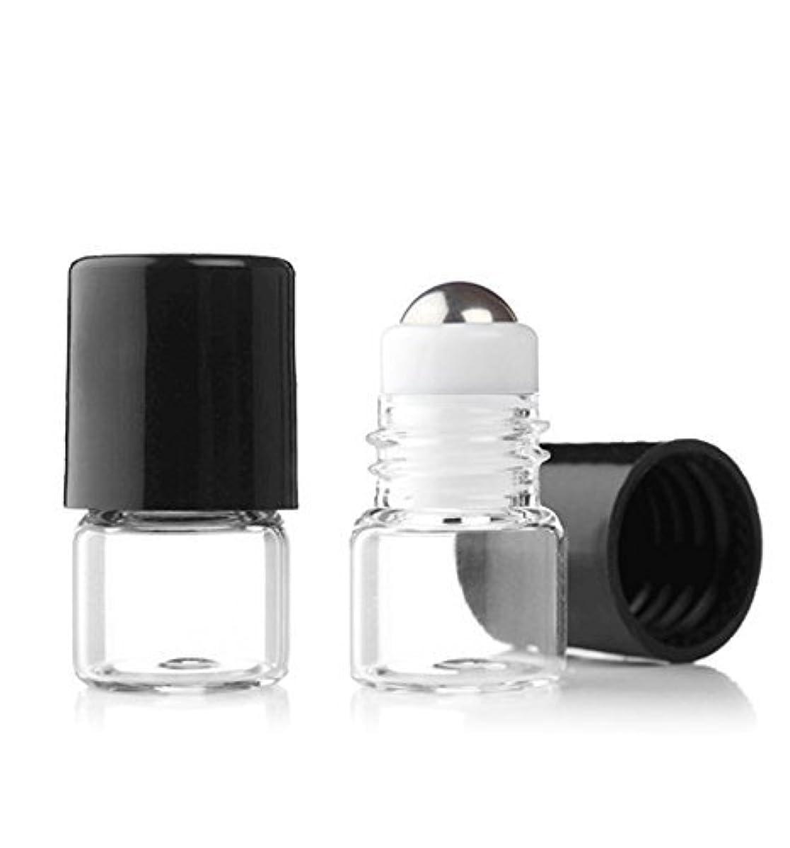 記者機転化合物Grand Parfums Empty 1ml Micro Mini Rollon Dram Glass Bottles with Metal Roller Balls - Refillable Aromatherapy...