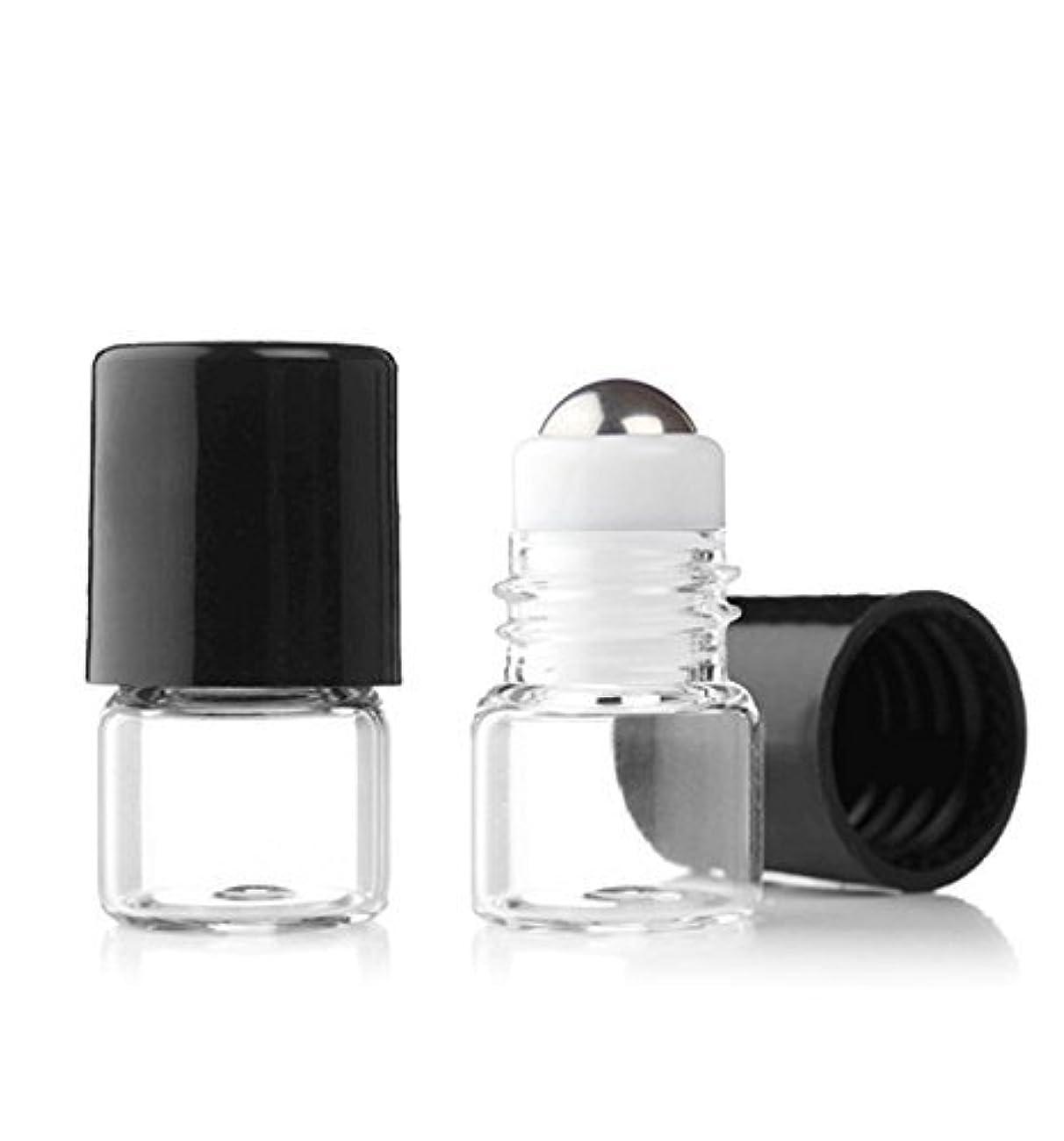 振り返る義務付けられた輸送Grand Parfums Empty 1ml Micro Mini Rollon Dram Glass Bottles with Metal Roller Balls - Refillable Aromatherapy...