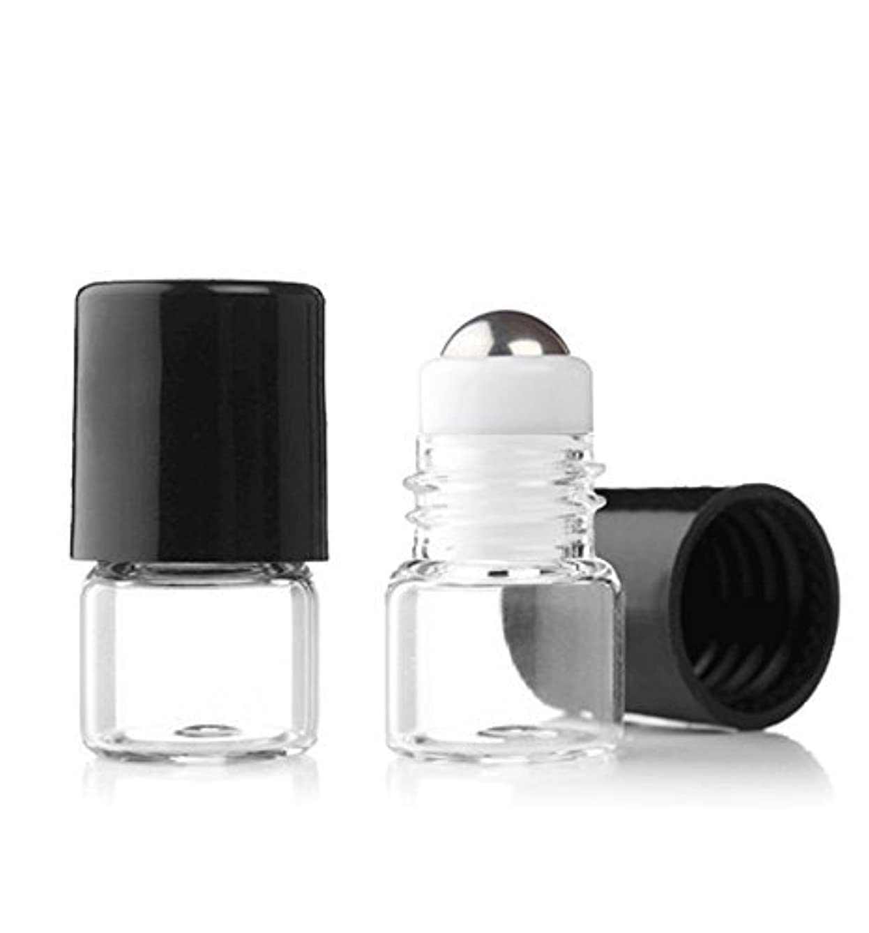 省略する暴君反響するGrand Parfums Empty 1ml Micro Mini Rollon Dram Glass Bottles with Metal Roller Balls - Refillable Aromatherapy...
