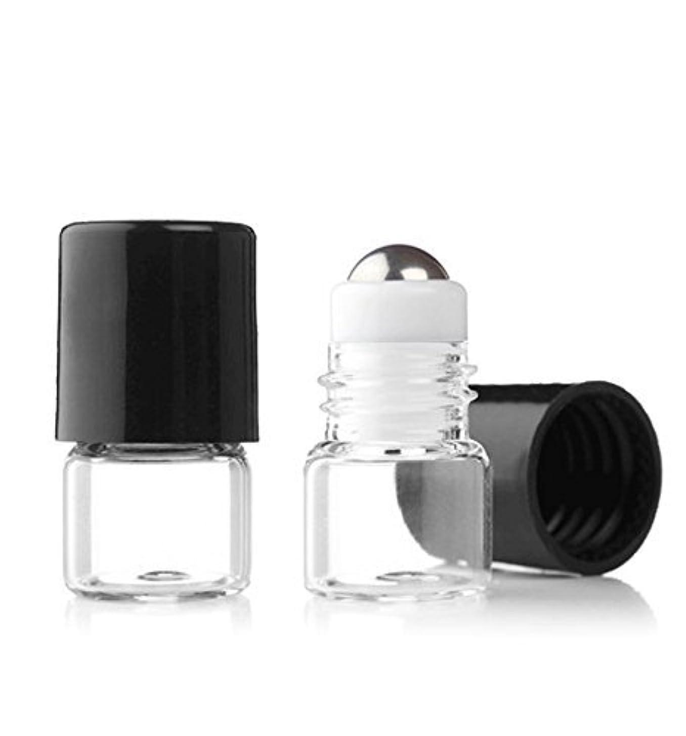 クラウド肯定的リスキーなGrand Parfums Empty 1ml Micro Mini Rollon Dram Glass Bottles with Metal Roller Balls - Refillable Aromatherapy...