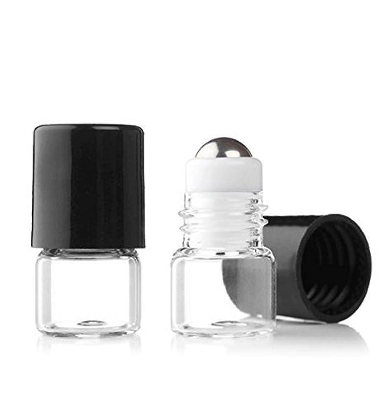 ストリップマサッチョ爆発物Grand Parfums Empty 1ml Micro Mini Rollon Dram Glass Bottles with Metal Roller Balls - Refillable Aromatherapy...