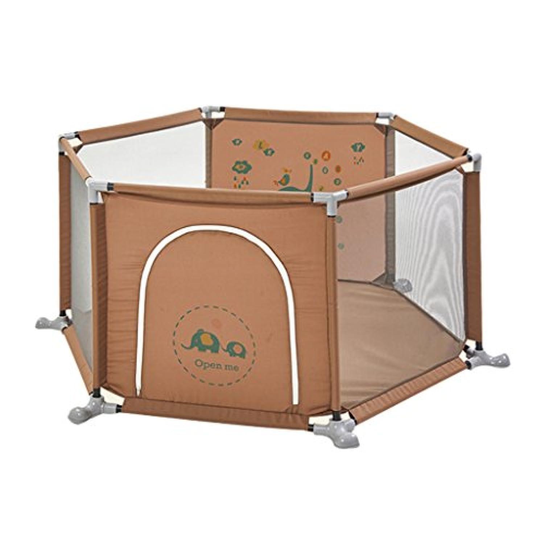 赤ちゃんのための遊び場ホーム子供の遊びフェンス屋内の赤ちゃんの幼児のフェンス保護フェンスの遊び場の子供遊び場 (Color : Brown, Size : 160 * 67cm)