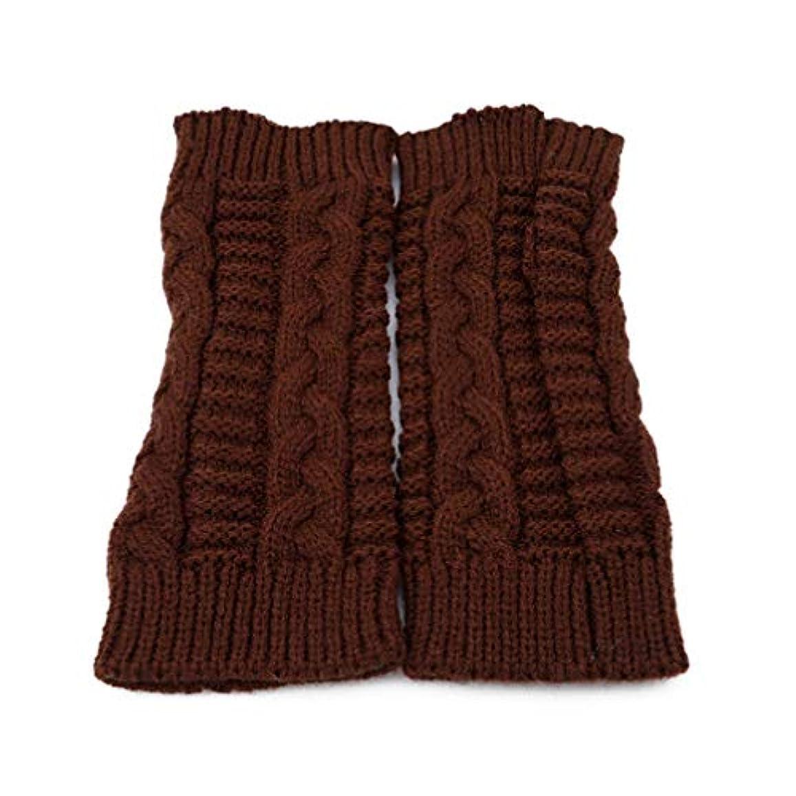 個人ペイントいっぱいToporchid 1ペアツイストスレッドソフトニット女性暖かい指なし手袋冬男性ユニセックス固体ミトン(茶色)