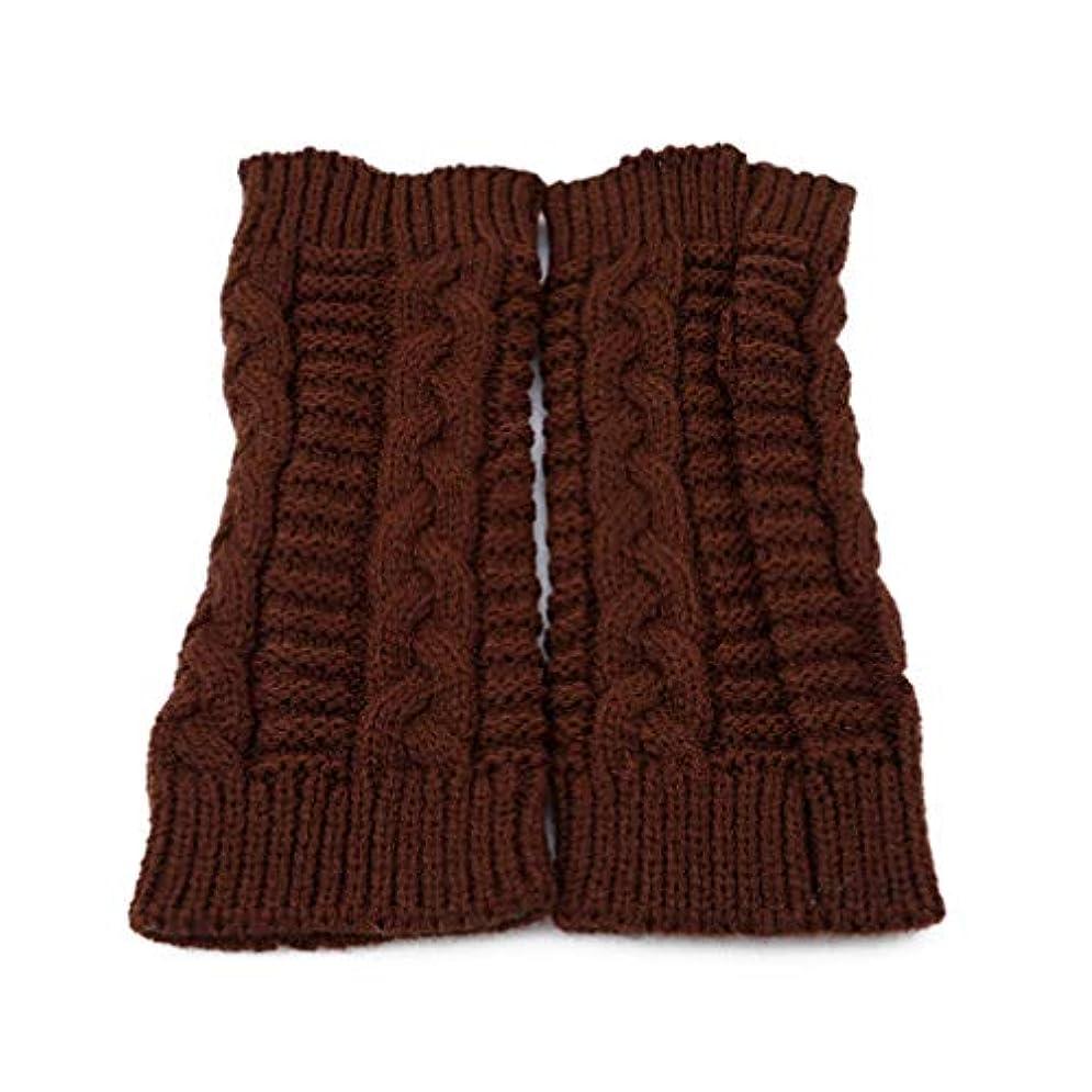 コーラス拍車国内のToporchid 1ペアツイストスレッドソフトニット女性暖かい指なし手袋冬男性ユニセックス固体ミトン(茶色)