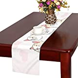 GGSXD テーブルランナー すばしこい ピンク猫 クロス 食卓カバー 麻綿製 欧米 おしゃれ 16 Inch X 72 Inch (40cm X 182cm) キッチン ダイニング ホーム デコレーション モダン リビング 洗える