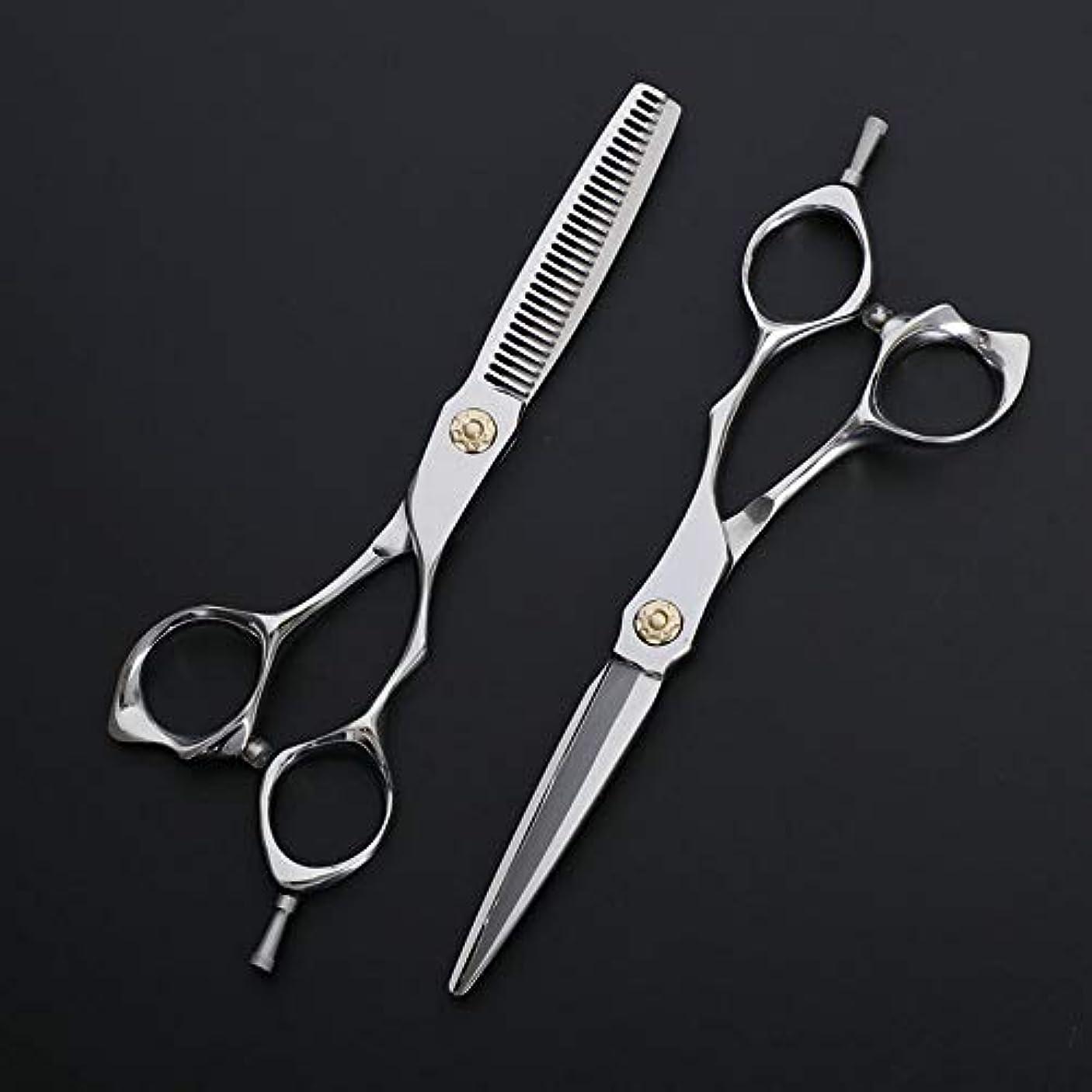 そこ仮定、想定。推測舗装する6インチ理髪はさみ、理髪店の特別なはさみ、ステンレス鋼フラット+歯はさみ散髪 ヘアケア (色 : Silver)