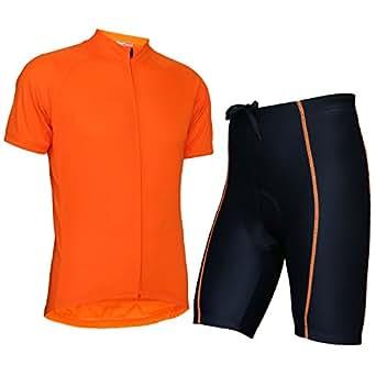Wellcls(ウェルクルズ) メンズ 半袖 サイクルジャージ 上下セット 自転車 サイクリング (オレンジ, S)