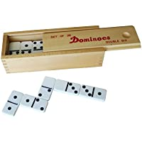【DOMINO W6 in The Wooden Box】木箱入プラスチック製ドミノ W6 白黒