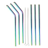 (590ml, straight 3 bend 3) - Stainless steel straws iridescence colours, Fits 20 or 890ml Tumbler, Extra Long Reusable Ecofriendly