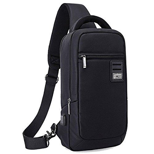 ワンショルダーバッグ メンズ USBポート搭載 斜めがけバッグ 防水バッグ 大容量ボディバッグ 9.7インチipad収納 アウトドア旅行用耐衝撃PCバッグ Luuhann