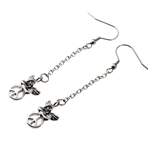 R。H。ジュエリーステンレススチールAngel with Peace Sign Dangle Earrings