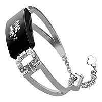 Compatible Fitbit Inspire/Inspire HR Strap,T-BLUER 女性ブリンブリンジュエリーブレスレット調節可能なステンレススチールメタルバンドバングルストラップローズピンクゴールドシルバーブラック
