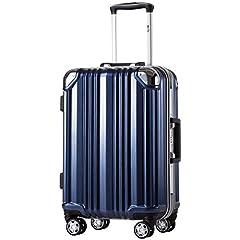 [クールライフ] COOLIFE スーツケース キャリーバッグ100%PCポリカーボネート ダブルキャスター 三年安心保証 機内持込 アルミフレーム人気色 超軽量 TSAローク (L サイズ(28in), blue)