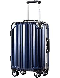 [クールライフ] COOLIFE スーツケース キャリーバッグ100% PCポリカーボネート ダブルキャスター 三年安心保証 機内持込 アルミフレーム人気色 超軽量 TSAローク