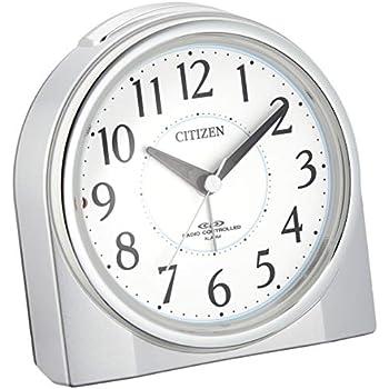 CITIZEN シチズン 目覚まし時計 電波時計 夜間常時点灯 ネムリーナリング シルバー 4RL432-019