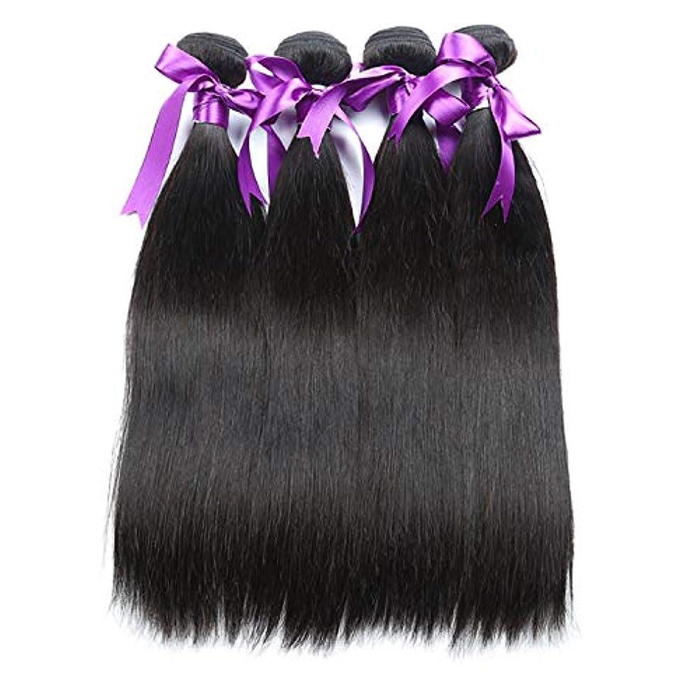 り側技術かつら 人毛バンドルブラジルストレートヘア非レミーヘアエクステンションナチュラルブラックヘアエクステンション4個 (Length : 20 22 24 26)