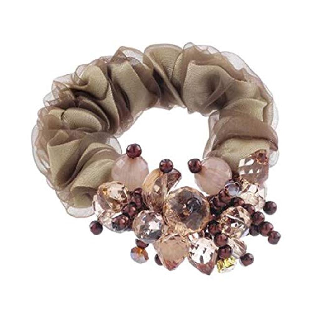 未使用有能な評決ヘアクリップ、ヘアピン、ヘアグリップ、ヘアグリップ、ヘアアクセサリーヘアバンドヘアーロープヘアネクタイヘアバンドラバーバンドヘッドロープ女性ヘッドジュエリーアダルトプレート髪純色ビーズ第三の花の色 (Color : Brown)
