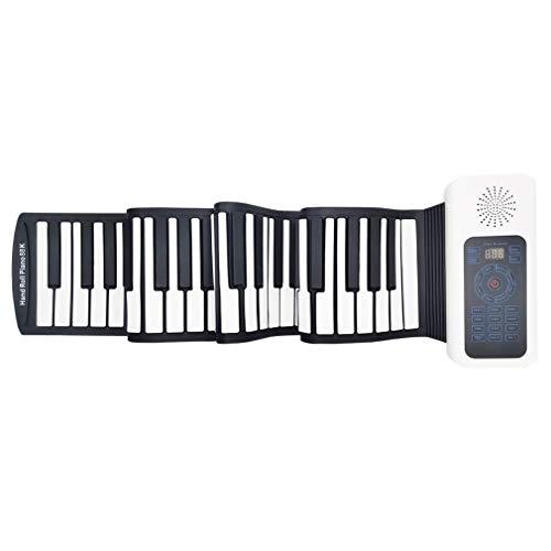 88鍵 ロールピアノ 電子ピアノ 電子キーボード 128種類音色 128種リズム 14曲模範曲 マイク内蔵 USB充電 ペダル付き イヤホン/スピーカー対応 初心者向 日本語説明書 子供プレゼント