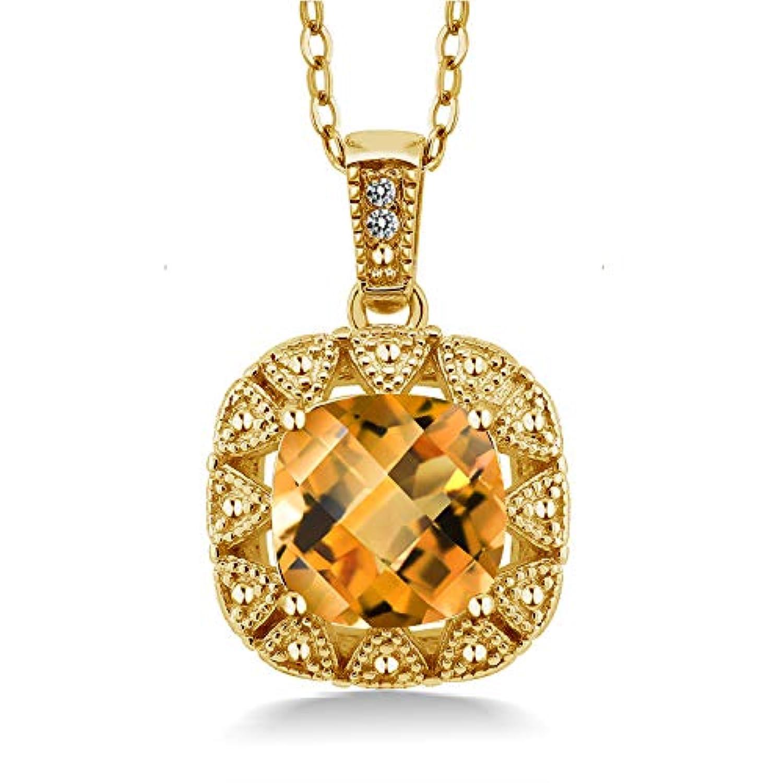 Gem Stone King 2.01カラット 天然シトリン シルバー 925 イエローゴールドコーティング 天然ダイヤモンド ネックレス ペンダント