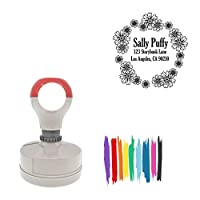 Daisys Design Round Pre-Inked Laser-Cut Address Stamp, Red Ink Included