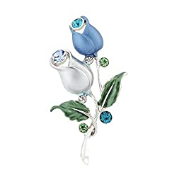 (ネオグロリー)Neoglory Jewelry ファッション 人気 ブルー 花 レディース 女性 ラインストーン ブローチ ジュエリー アクセサリー